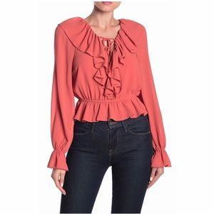 *DO+BE* Peach Lace Up Ruffle Peplum Blouse